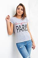 Серая хлопковая футболка с надписью Paris