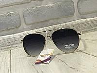 ХИТ!Солнцезащитные очки классика капли в черном цвете с металлической оправой 1753, фото 1