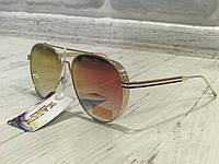 ХИТ!!Шикарные очки капли с зеркальной линзой оправа металл цвет хамелеон 1755, фото 1