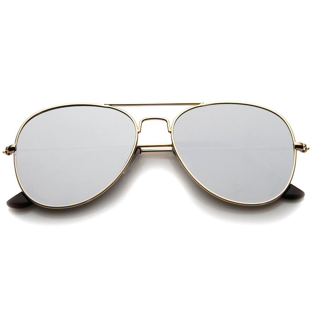 Женские солнцезащитные очки авиаторы маленькие в золотой оправе с серебренной линзой