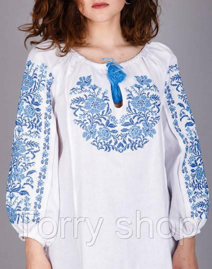 Вышитая женская сорочка на домотканном лене ,синяя вышивка