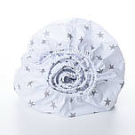 Простынь детская Asik на круговой резинке с серыми звёздами на белом (5К-700)