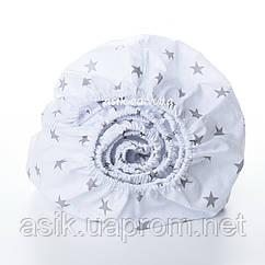 8aa232be482d Простынь детская Asik на круговой резинке с серыми звёздами на белом  (5К-700)