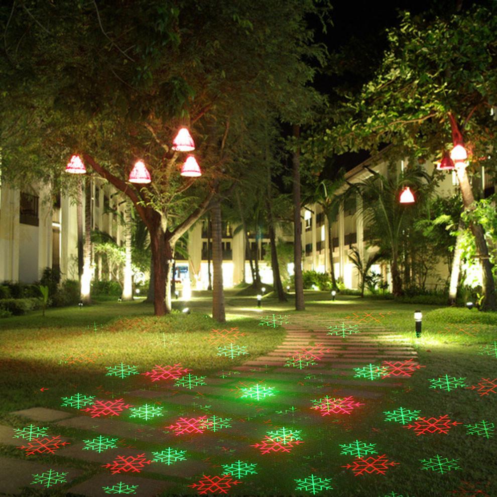 Уличный лазерный проектор снежинки/звездочки красный/зеленый Ecolend  450