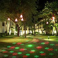 Уличный лазерный проектор снежинки/звездочки красный/зеленый Ecolend  450, фото 1