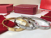 Элегантный браслет Cartier Love цвет серебро с камнями (реплика), фото 1