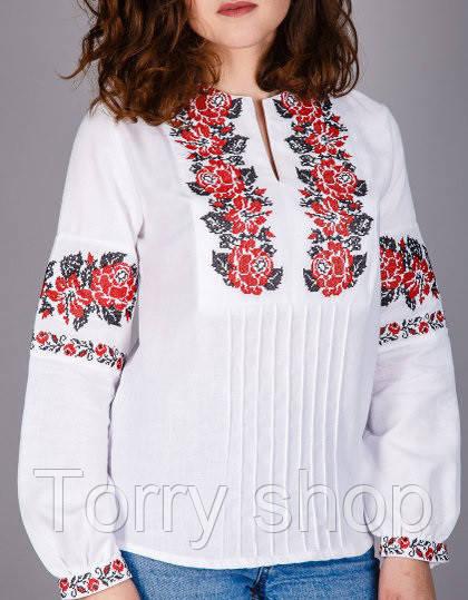 Вышитая женская сорочка на домотканном лене ,красная вышивка