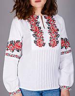 Вышитая женская сорочка на домотканном лене ,красная вышивка, фото 1