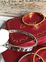 Элегантный браслет Cartier Love цвет серебро без камней (реплика), фото 1
