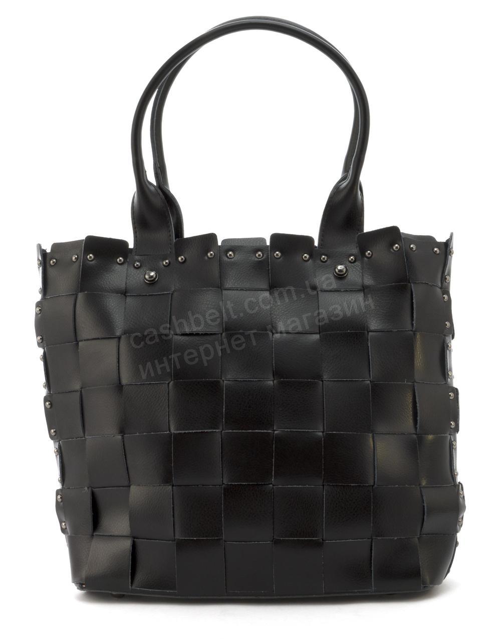 Містка стильна міцна шкіряні плетені жіноча сумка SARA art. 16213 чорний Туреччина
