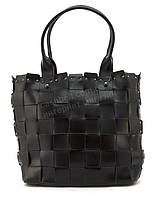 Містка стильна міцна шкіряні плетені жіноча сумка SARA art. 16213 чорний Туреччина, фото 1