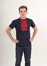Нарядная мужская футболка вышиванка с красным орнаментом
