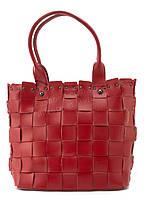 Вместительная стильная прочная кожаная плетеная женская сумка SARA art. 16213 красная Турция