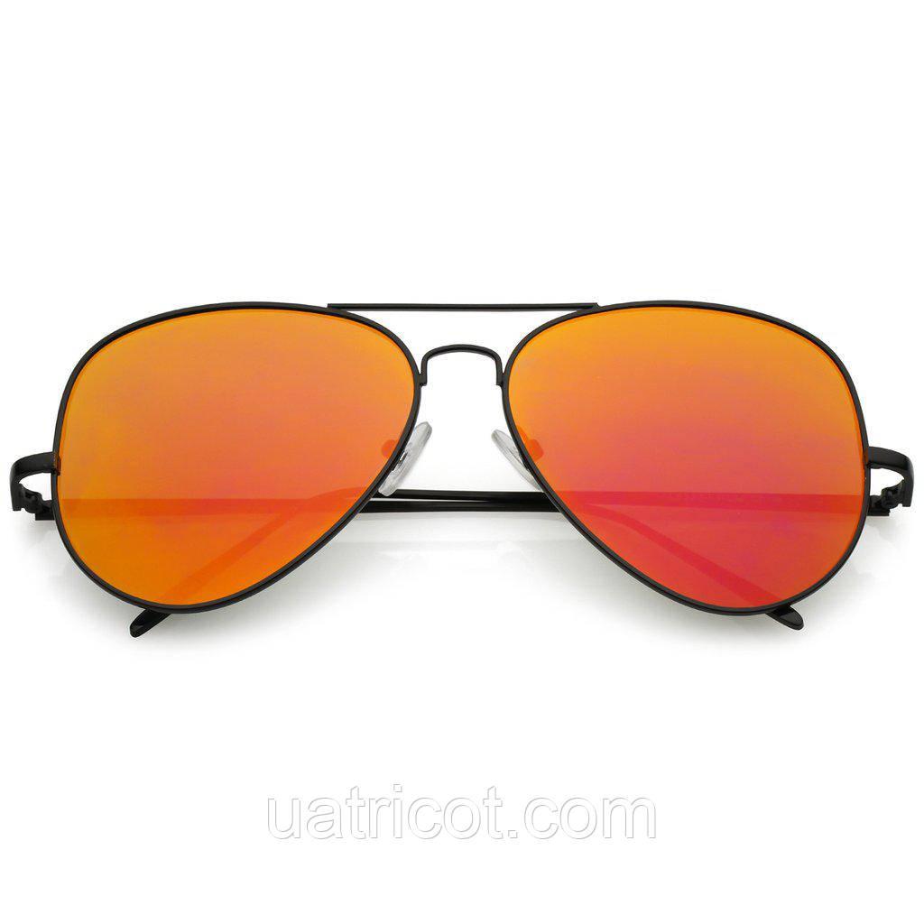 Мужские солнцезащитные очки авиаторы большие с оранжевой линзой