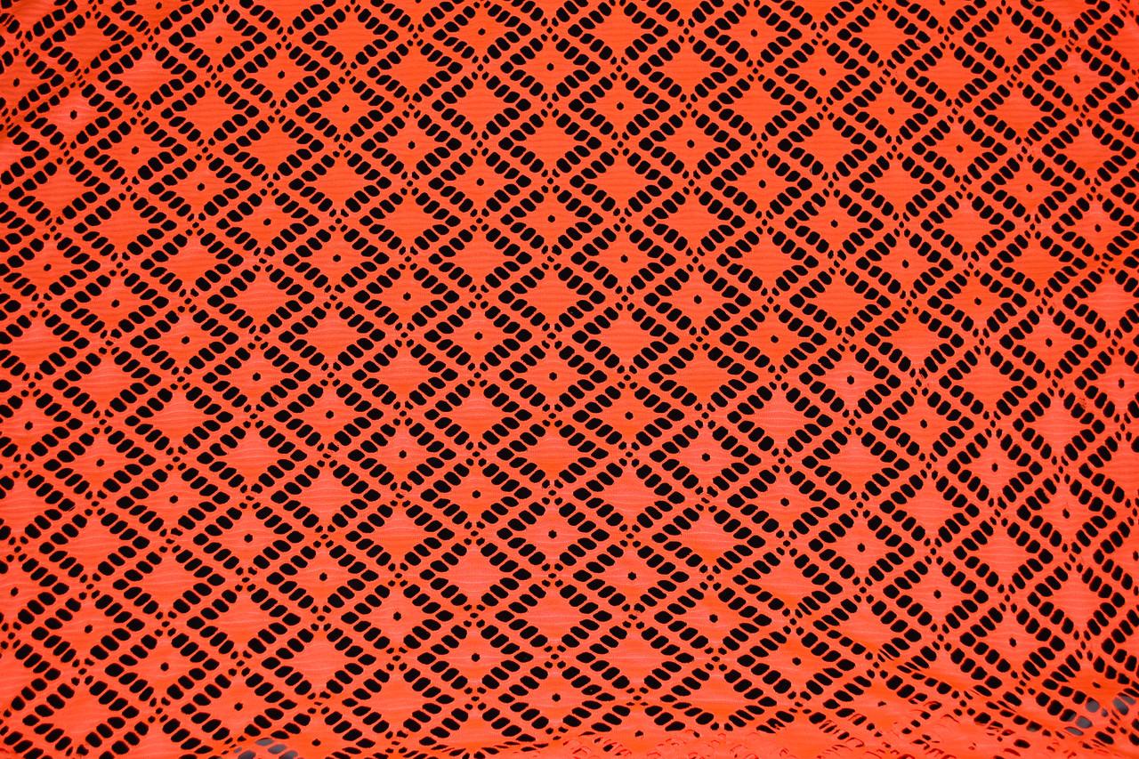"""Сетка гипюр """"ромб"""" оранжевая"""