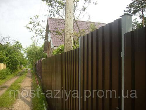Заборный профнастил, профлист на забор, металлопрофиль для забора, фото 1