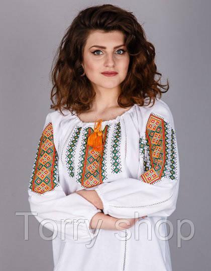 Вышитая женская сорочка на домотканном лене