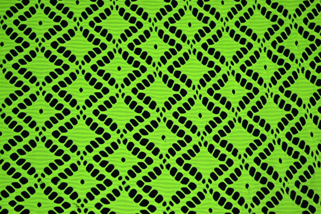 "Сетка гипюр ""ромб"" зеленый неон"