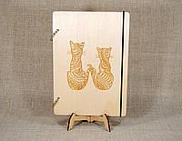 Скетчбук A5. Блокнот с деревянной обложкой Кошки, фото 1