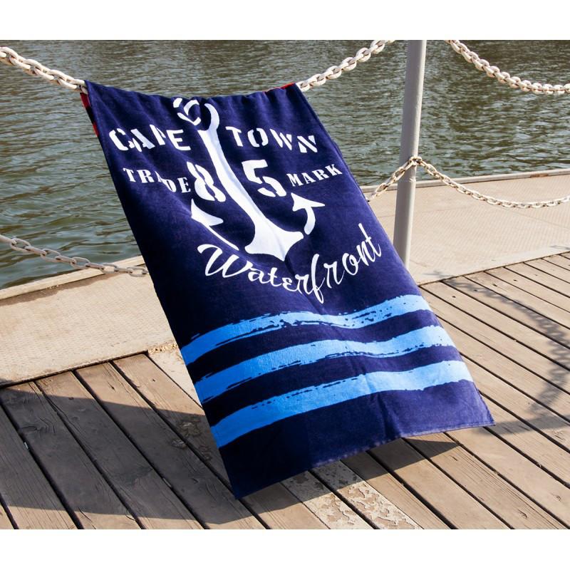 Полотенце Lotus пляжное - Waterfront синий 75*150 велюр