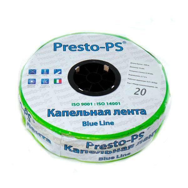 Крапельна стрічка Presto-PS щілинна Blue Line отвори через 20 см, витрата води 2,4 л/год, довжина 500 м
