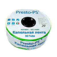 Капельная лента Presto-PS эмиттерная 3D Tube капельницы через 20 см, расход 2.7 л/ч, длина 1000 м (3D-20-1000), фото 1