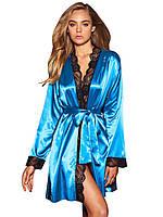 Голубой халат с черным кружевом, фото 1