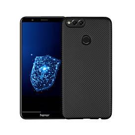 Чехол накладка для Huawei Honor 7X силиконовый, Carbon Fiber Texture, черный