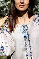 Жіноча лляна вишиванка сірого кольору з рослинним орнаментом