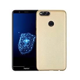 Чехол накладка для Huawei Honor 7X силиконовый, Carbon Fiber Texture, Золотистый