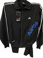 Костюм мужской спортивный Adidas черный с синей надписью