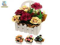 """Композиция из искусственных цветов """"Розы на окне"""""""