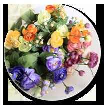 Искусственные цветы, головки цветов, добавки к букетам