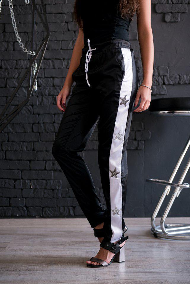 c4d8e9032d6c Женские брюки, лампасы звёзды. Чёрные, 6 цветов.