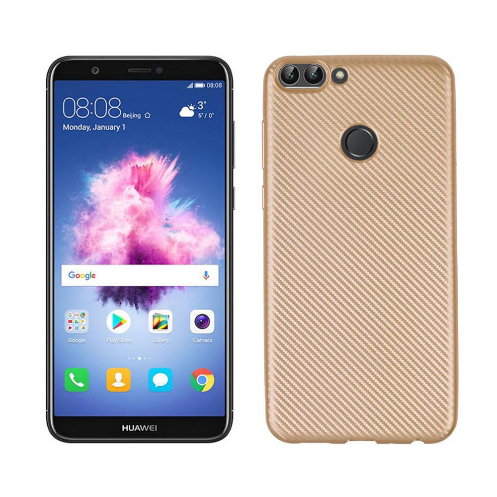 Чехол накладка для Huawei P Smart   Enjoy 7S силиконовый, Carbon Fiber Texture, Золотистый