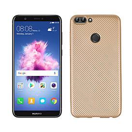 Чехол накладка для Huawei P Smart | Enjoy 7S силиконовый, Carbon Fiber Texture, Золотистый