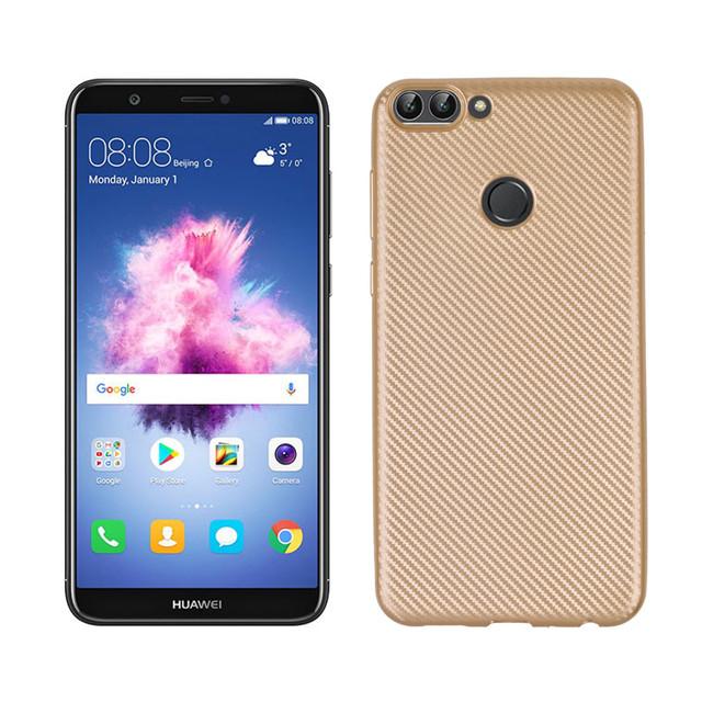 чехол накладка на Huawei P Smart золотистый карбон