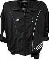 Костюм мужской спортивный Adidas черный с лампасами с синей отделкой