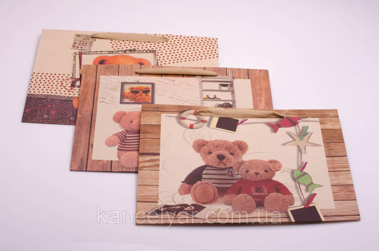 Пакет подарунковий паперовий, 34х26.5х11.5 см, в асортименті