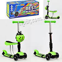 Самокат - велобег Best Scooter со светящимися колесами зеленый
