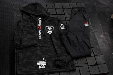 Мужской спортивный костюм Reebok Crossfit.Черный с серым