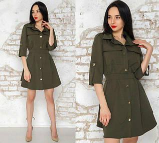 Платье-рубашка на кнопках с рукавами до локтя 42-44 р