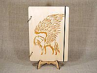 Деревянный блокнот M (А5 формат). Скетчбук Пегас. Блокнот с деревянной обложкой., фото 1