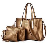 Стильный оригинальный набор женских сумок с плетением 3в1 Отличный подарок для любимой женщины Код: КГ4456