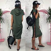 Модное платье-спорт с капюшоном и шнуровкой