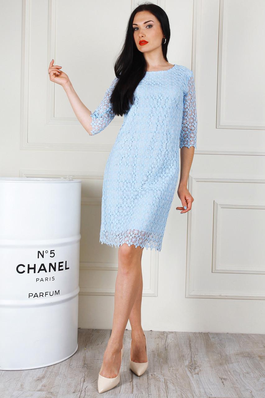 f4113c0ec71 Повседневное кружевное платье голубого цвета - Оптово-розничный магазин  одежды