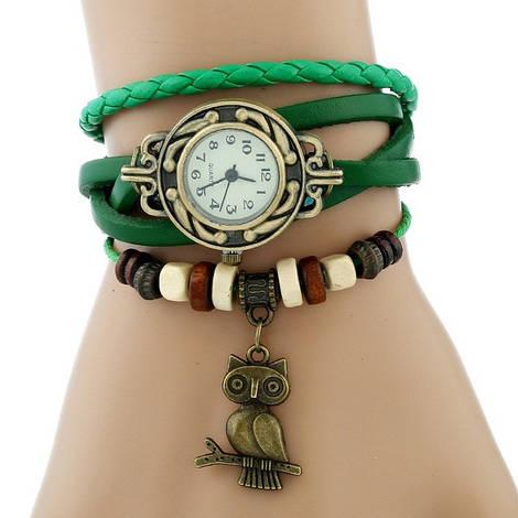 Классные женские часы браслет Bluelans зеленого цвета