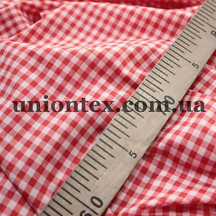 Рубашечная ткань клетка красная с белой, фото 2