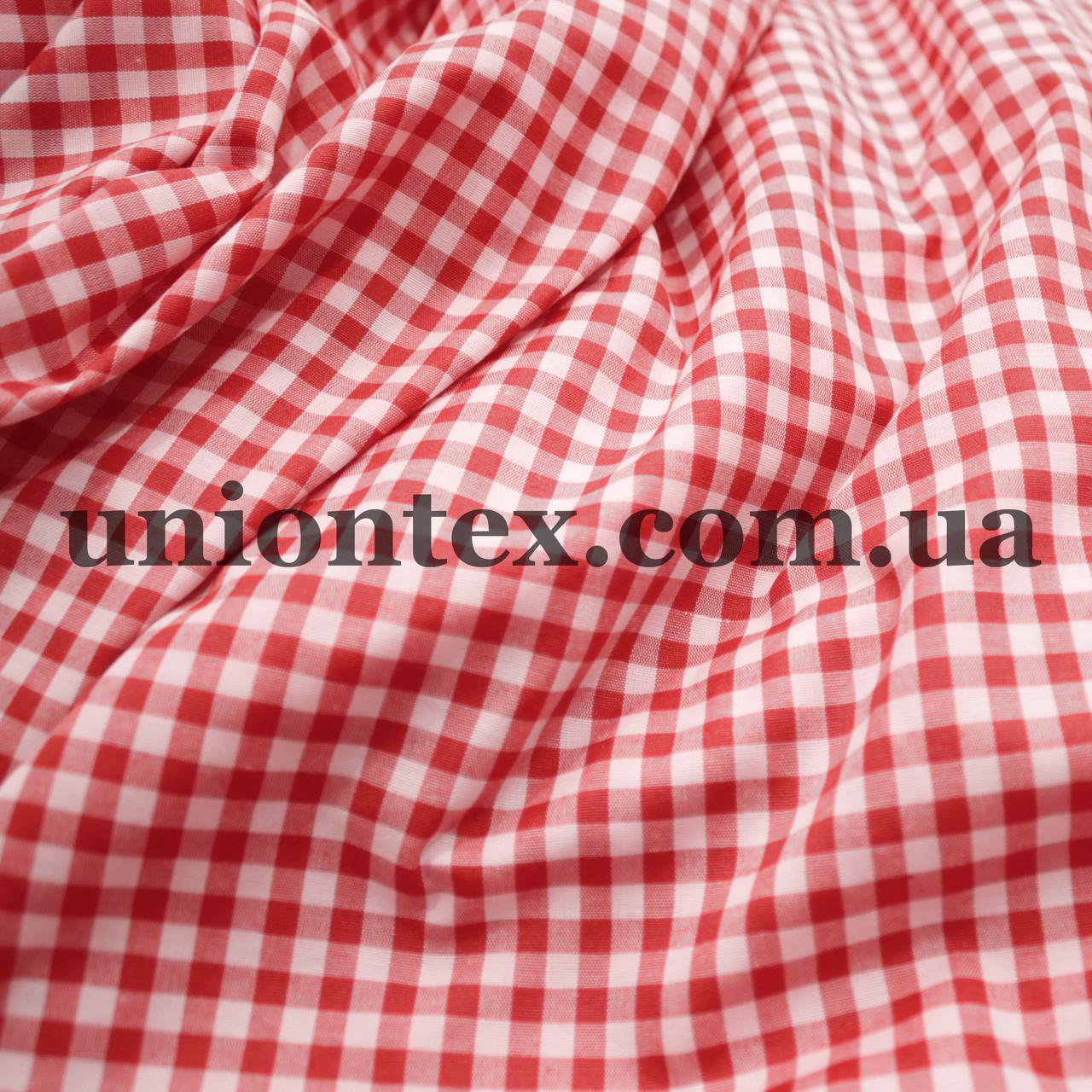 Рубашечная ткань клетка красная с белой