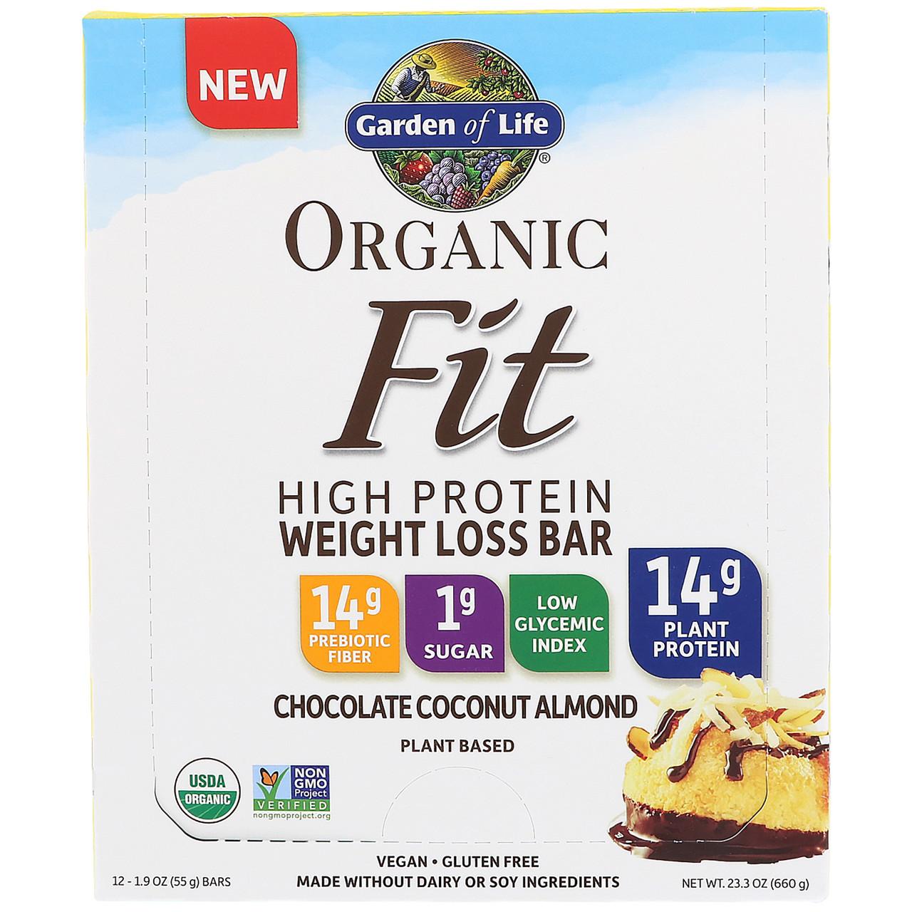 Garden of Life, Organic Fit, батончики для снижения веса с высоким содержанием протеина, шоколад, кокос, миндаль, 12 батончиков, каждый 1,9 унц. (55